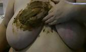 BBW rubbing crap on her huge tits