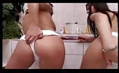 Two sexy girls shitting in white panties