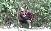 Sexy girl caught peeing in public