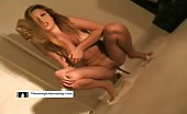 Beautiful naked babe pooping on the floor