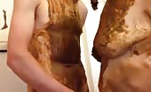 Dirty scat smearing couple having sex