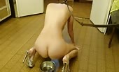Masked babe eating shit from a metallic bowl
