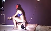 Hot naked mistress shitting on male slave