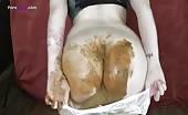 Redhead girl pooping in her panties