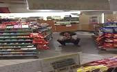 Naughty slut caught peeing in a supermarket