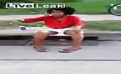 Ebony slut caught shitting in the streets