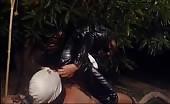 Cruel mistress feeding her slave
