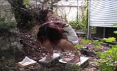 Japanese girl shitting outdoor