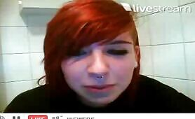 Redhead babe shitting a lot and farting
