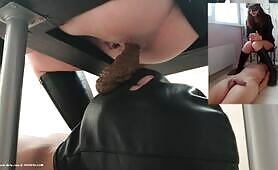Brown shit on masked slave face