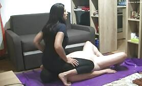 Dark haired babe shits on slave
